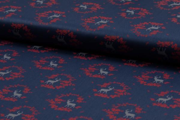 tissu coton romantico cerfs/bleu nuit