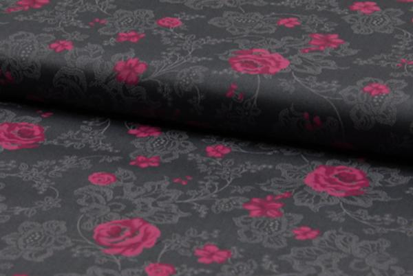 """tissu coton """"romantico"""" roses anthracite"""