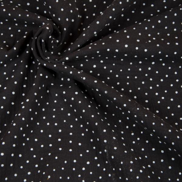 tissu double gaze noire à pois