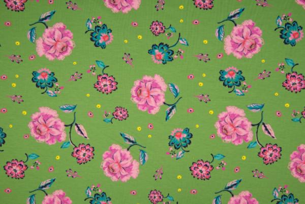 french terry vert - fleurs roses