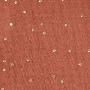 tissu double gaze rouille - pois dorés