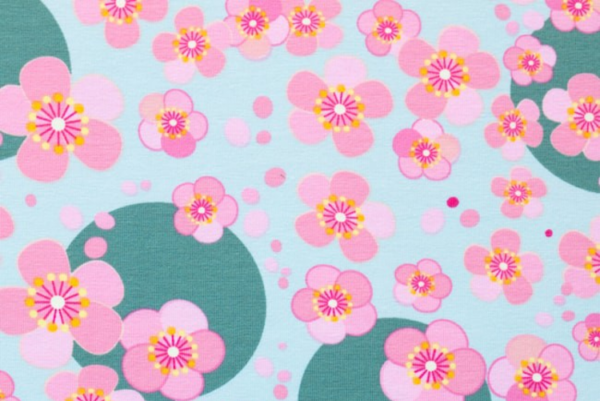 tissu jersey fleurs chinoises