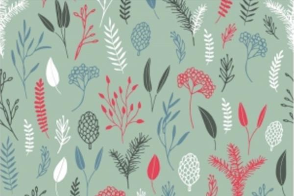 tissu coton fleurs des champs vert/gris