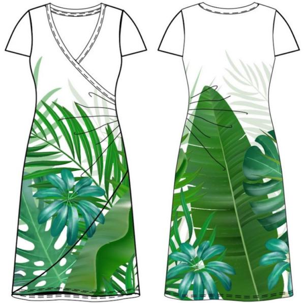 panneau jersey feuilles tropicale 3
