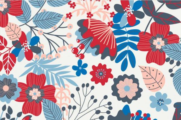 tissu jersey fleurs et baies OEKOTEX Meghan blue