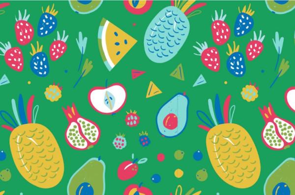 tissu jersey fruits mix OEKOTEX Meghan blue