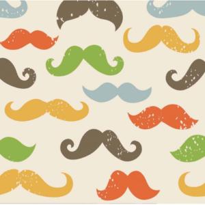 tissu jersey moustaches OEKOTEX Meghan blue