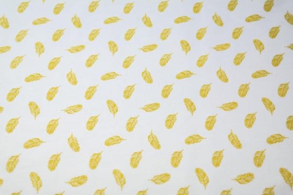 tissu coton plumes jaunes oekotex Stenzo