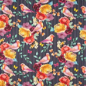 tissu coton oiseaux rayés oekotex Quality Textiles