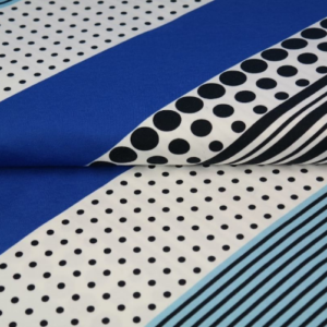 tissu jersey graphique-rayé bleu oekotex Stenzo