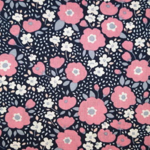 tissu coton fleurs seventies rose oeko tex
