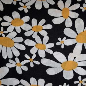 tissu coton marguerites noires oeko tex