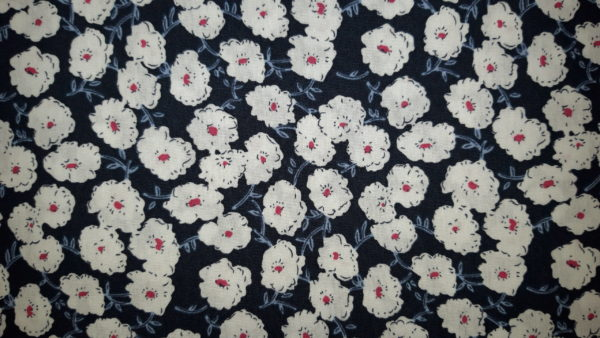 tissu coton fleurs seventies marine oeko tex