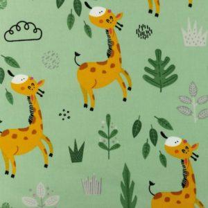 tissu coton girafes menthe oeko tex
