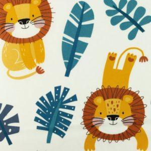 tissu coton lions bleus oeko tex