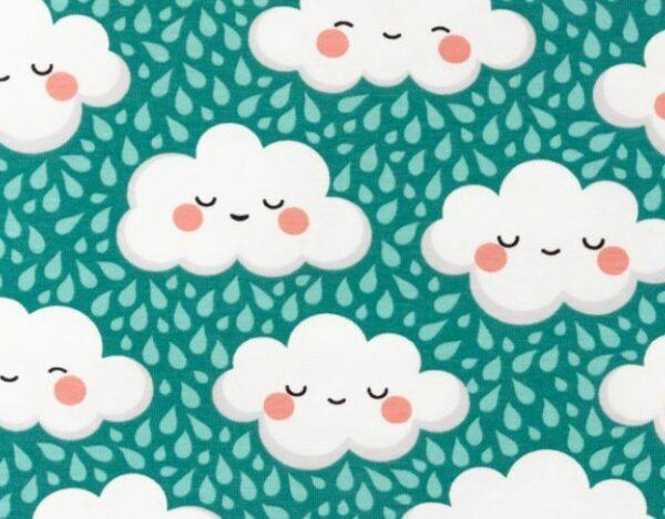 tissu coton nuages bleus oeko tex