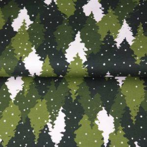 tissu french terry sapins vert mouchetés oeko tex