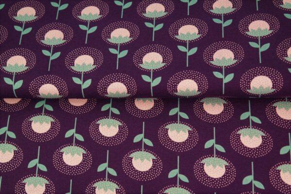 tissu french terry aigrettes violettes oeko tex