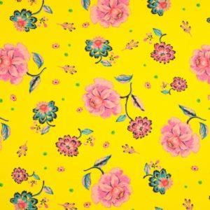 tissu french terry jaune - fleurs roses oeko tex