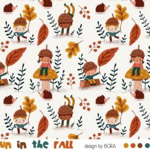 tissu french terry fun in the fall oeko tex GOTS