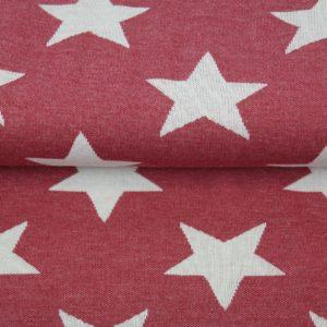 tissu jacquard étoiles rouges oeko tex