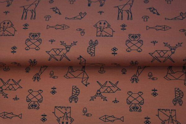tissu jersey animaux brique oeko tex