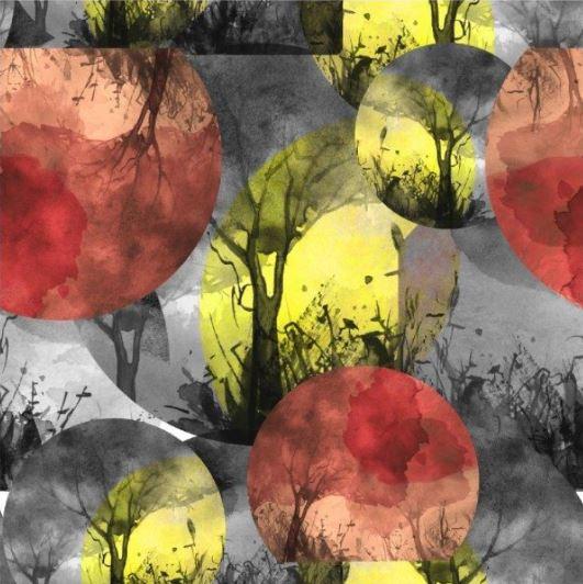 tissu jersey arbres black & white oeko tex