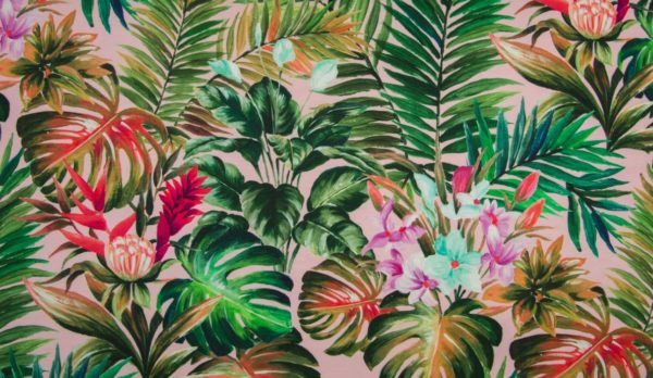 tissu jersey feuilles tropicales oeko tex