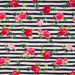 tissu jersey rayé & roses oeko tex