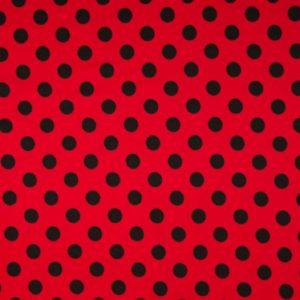 tissu jersey rouge pois noirs oeko tex