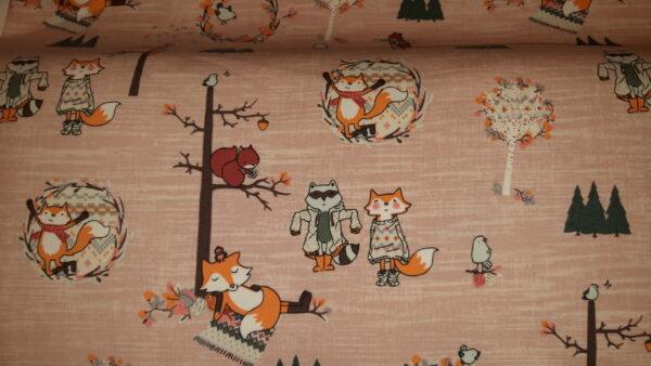 tissu jersey renards d'hiver oeko tex