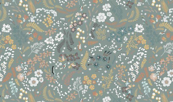 tissu coton fleurs d'automne gris oeko tex Organic