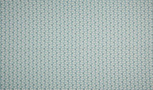 tissu coton bleu craie - fleurs blanches OEKO TEX