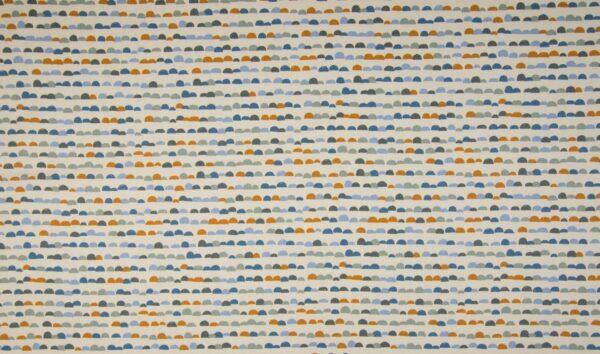 """tissu coton """"dunes"""" bleu et ocre OEKO TEX"""