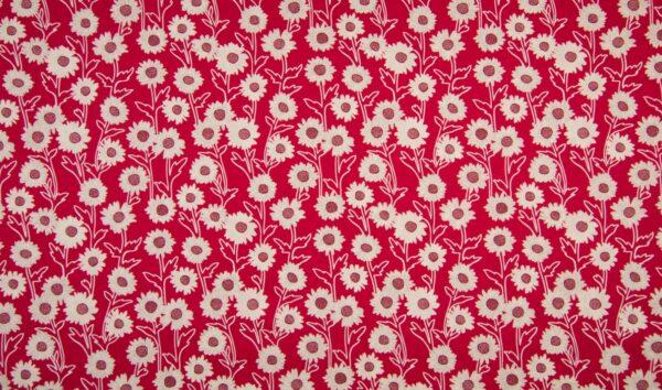 tissu coton marguerites rouges OEKO TEX