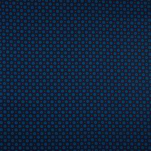 tissu coton bleu nuit - fleurs turquoises OEKO TEX