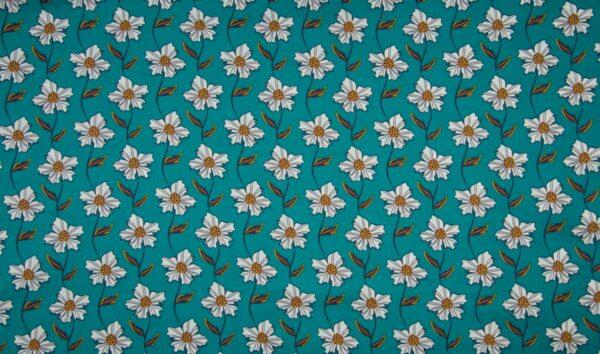tissu coton turquoise - fleurs blanches OEKO TEX