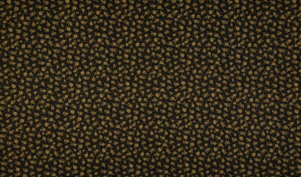 tissu coton noir - fleurs dorées OEKO TEX