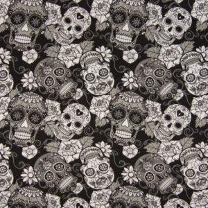 """tissu jersey """"têtes de mort"""" OEKO TEX"""
