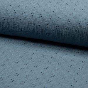 tissu double gaze bleu craie brodée fleurs OEKO TEX