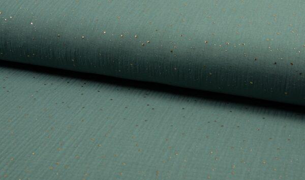 tissu double gaze bleu craie- pois dorés OEKO TEX