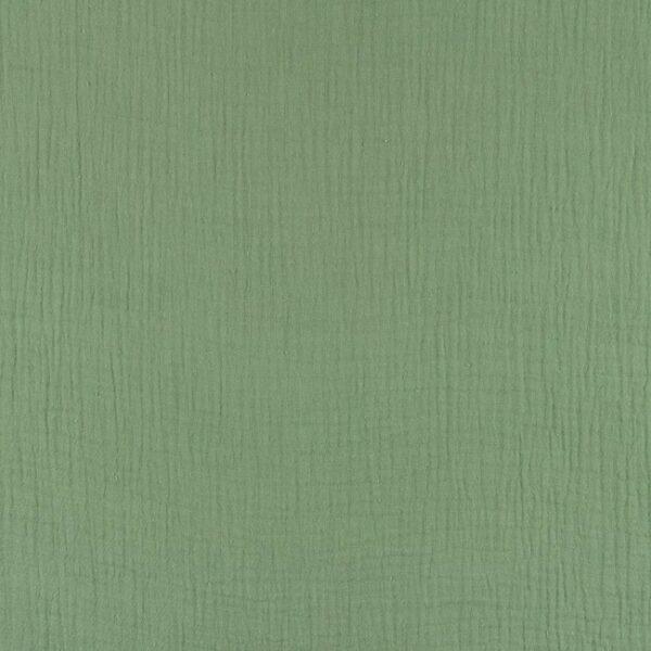 tissu double gaze vieux vert OEKO TEX