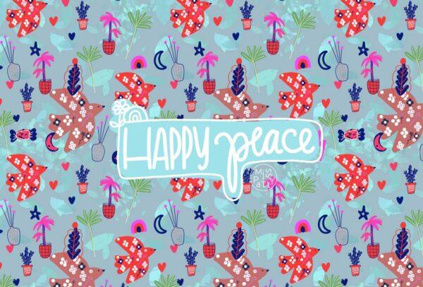"tissu jersey ""Happy Peace"" BIO"