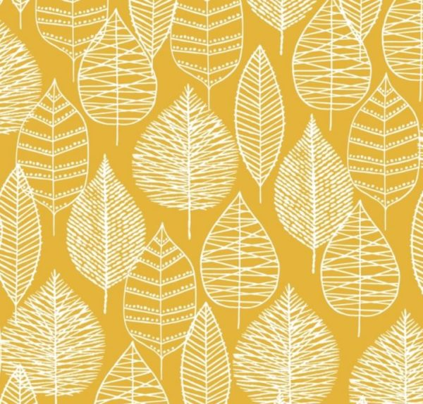 tissu coton enduit feuilles ocre BIO