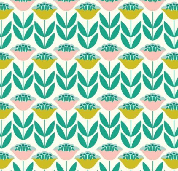 tissu coton enduit tulipes BIO