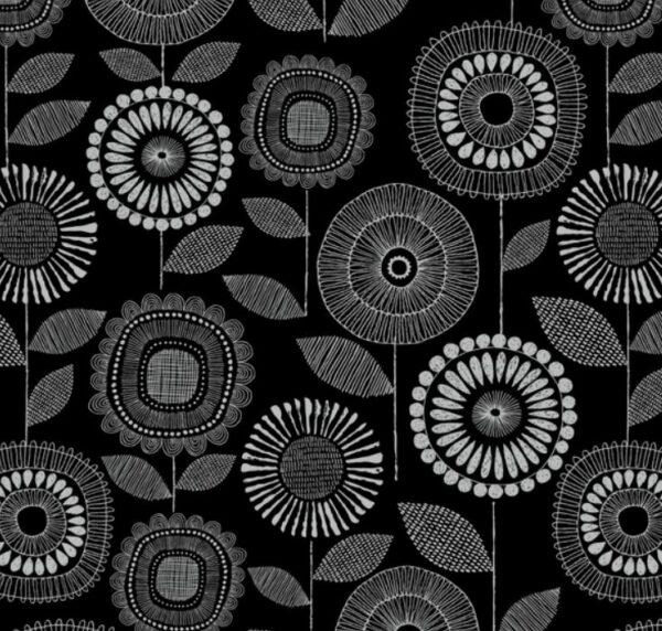 tissu coton enduit black & white BIO