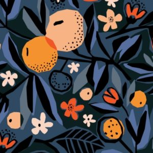 "tissu canvas 'under one sky"" oranges de nuit BIO"