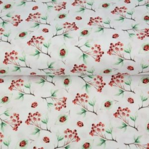 tissu coton petites fleurs & coccinelles OEKO TEX