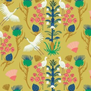 """tissu coton """"Dragons et Lanternes"""" oiseaux BIO"""