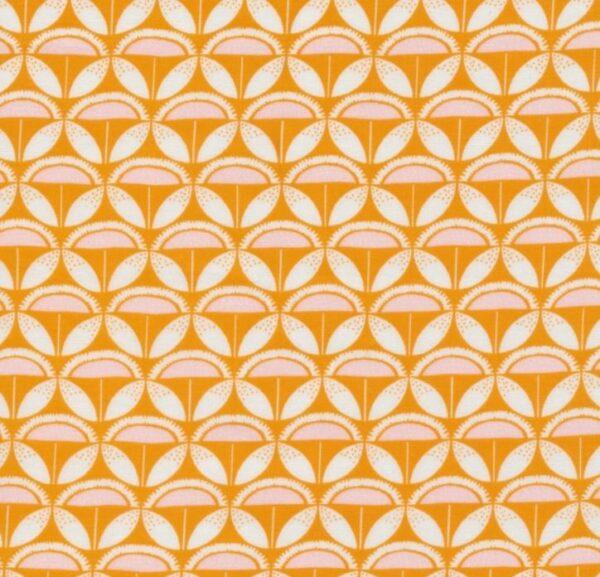 "tissu coton ""good vibrations"" psyché orange BIO"